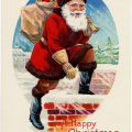 vintage Christmas postcard, vintage santa graphics, printable Christmas illustration, old fashioned Christmas card, santa stepping into chimney