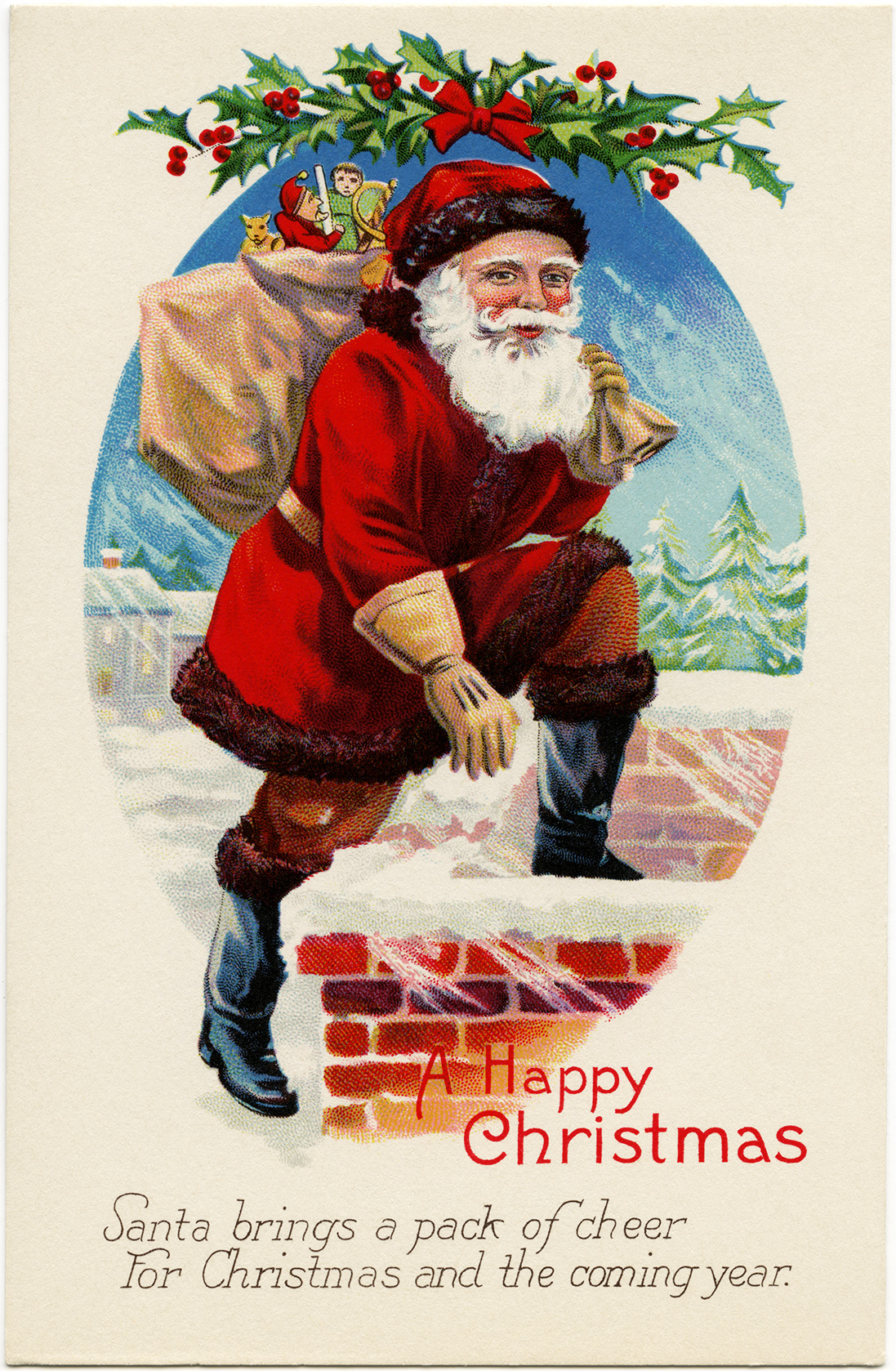 vintage Christmas postcard, vintage santa graphics, printable Christmas illustration, old fashioned Christmas card, santa stepping into chimney