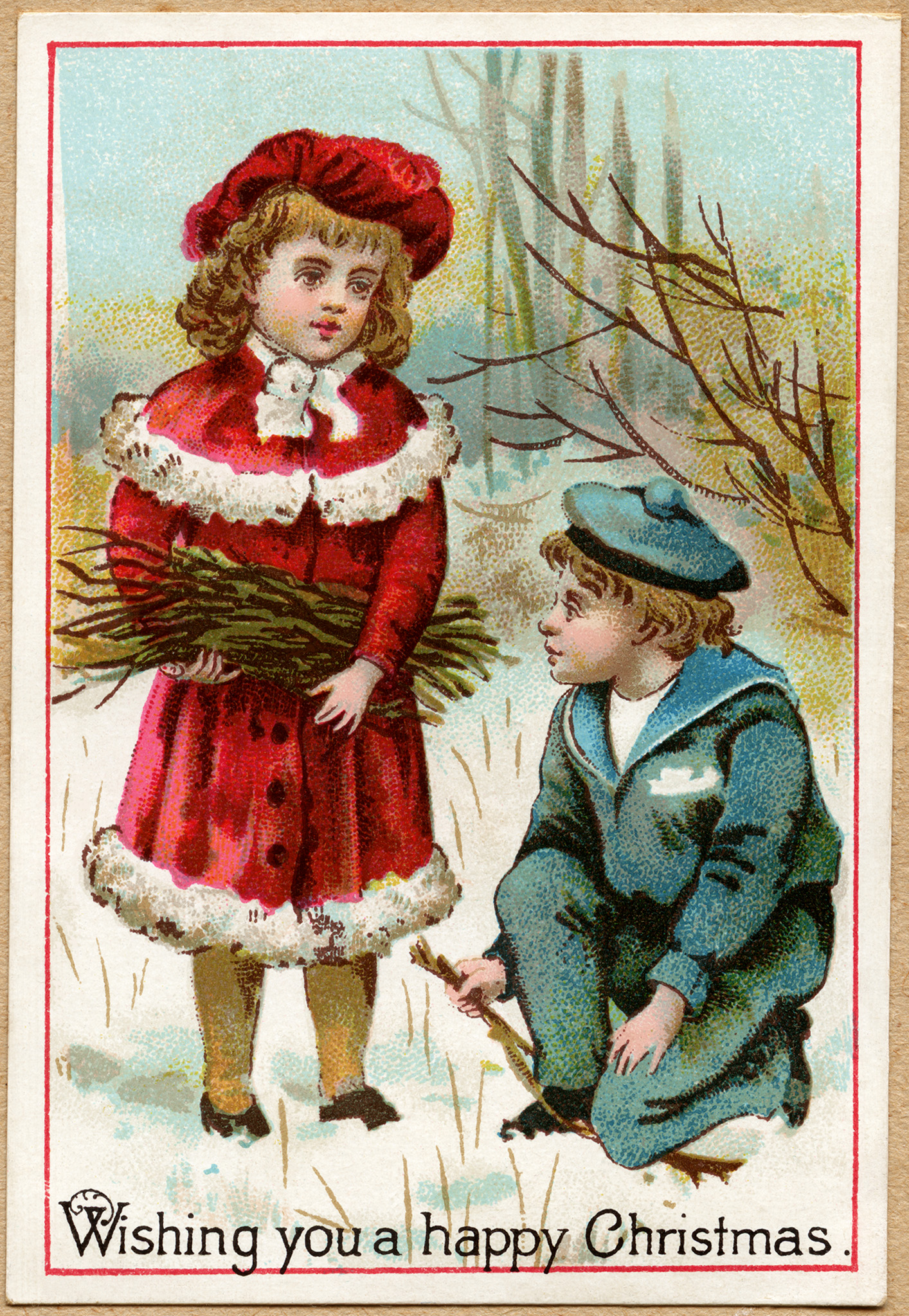 vintage Christmas card, Victorian children gather twigs, printable Christmas illustration, old fashioned Christmas card, Victorian boy and girl clip art