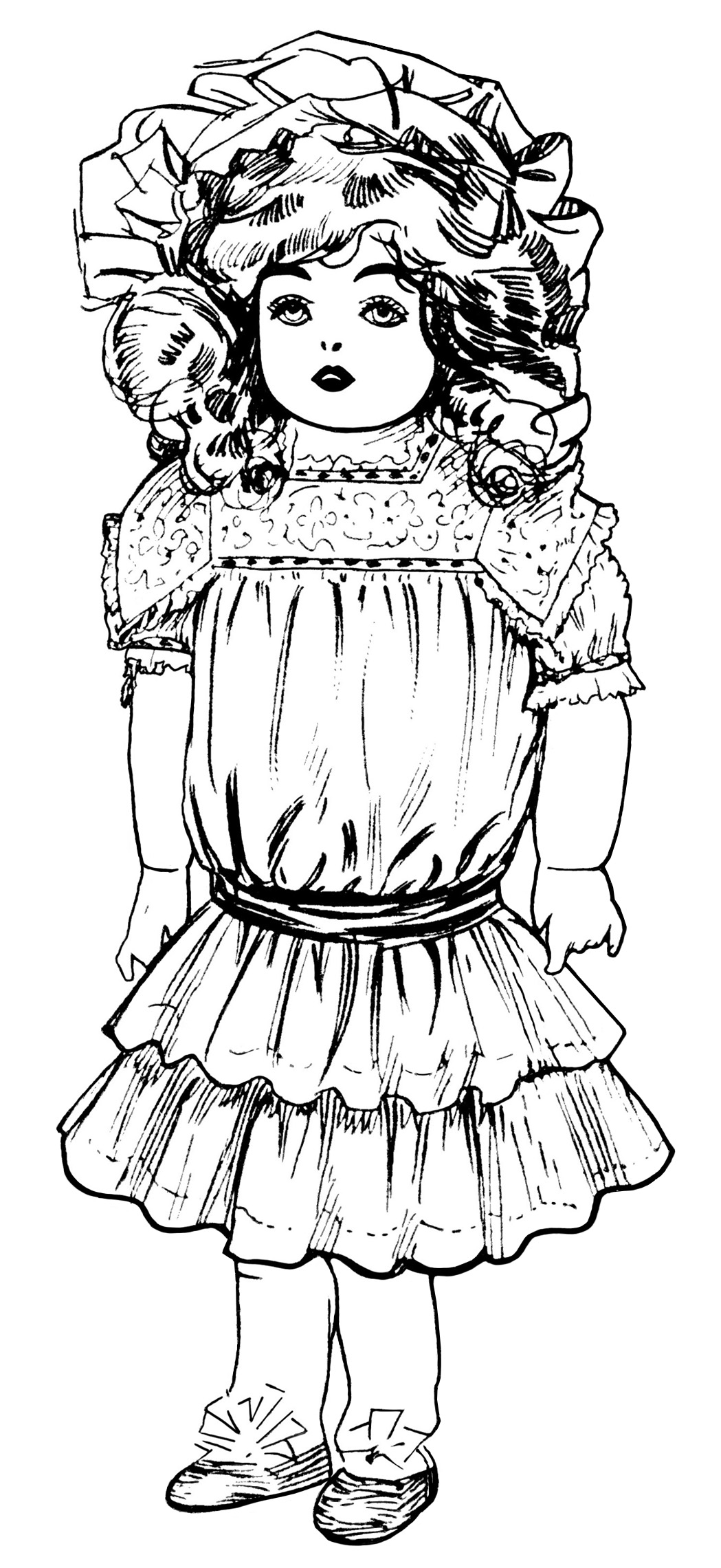old fashioned halloween coloring pages | Vintage Dolls ~ Free Clip Art - Old Design Shop Blog