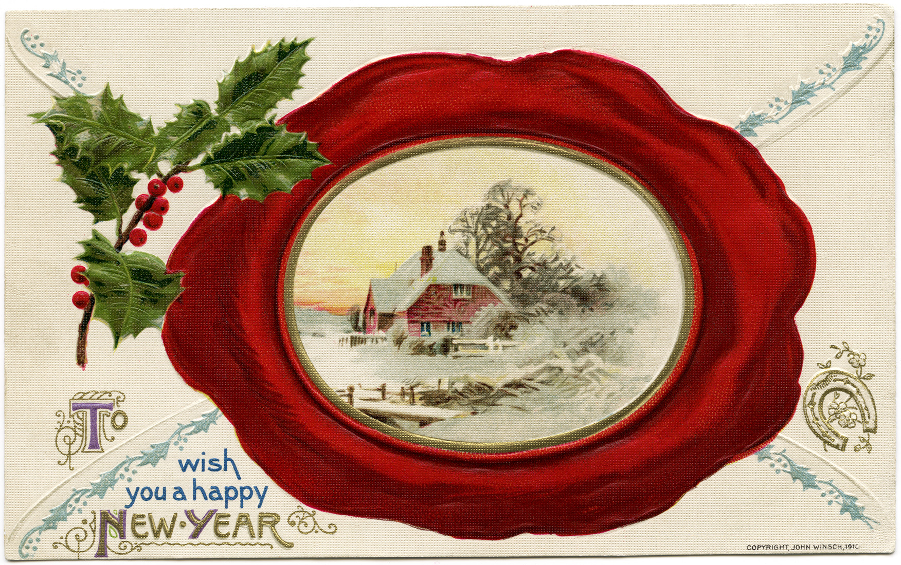 winsch new year postcard image
