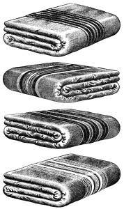 black and white clipart, old catalogue page, vintage wool blanket, vintage blanket clip art, antique bedding illustration
