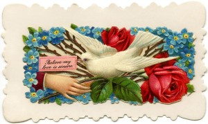 Free vintage clip art Victorian calling card dove with note hand roses
