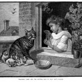 Victorian girl and kittens, cat's cradle, game with string, vintage cat kitten illustration, black and white graphics