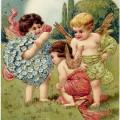 vintage valentine postcard, cherubs clip art, old fashioned valentine card, vintage angels illustration, printable valentines day card