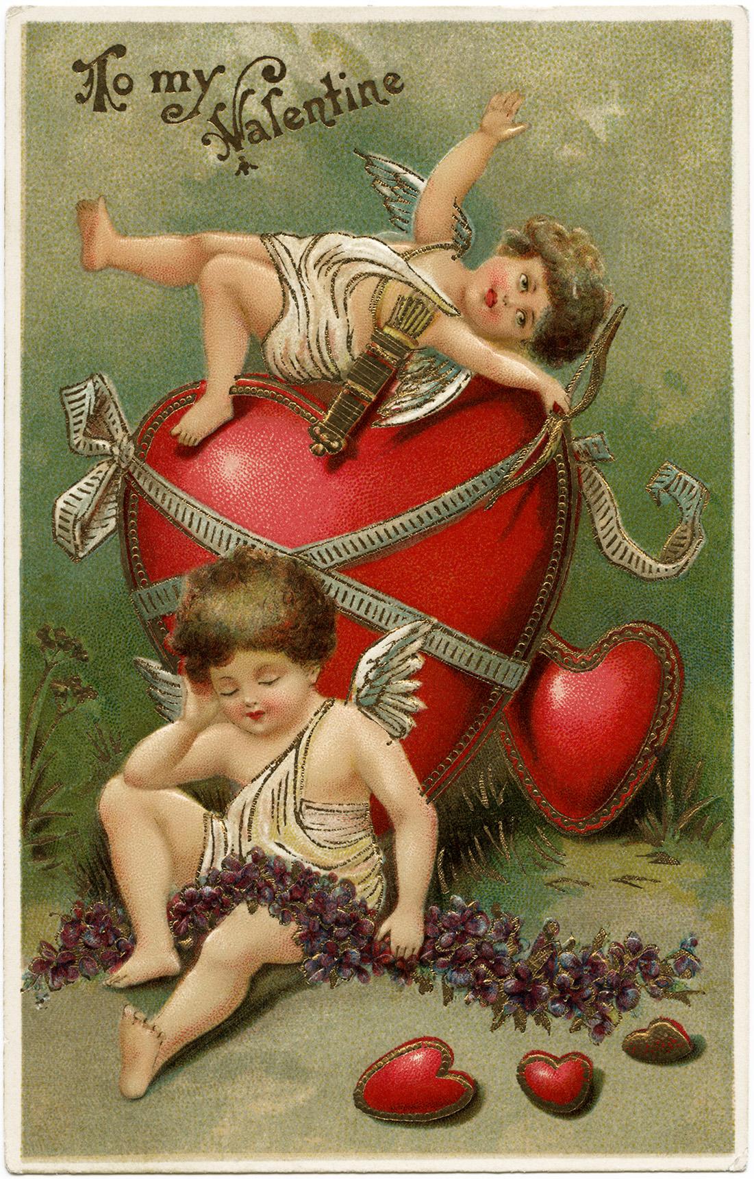 cherubs and valentine hearts old design shop blog