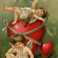 Free vintage clip art valentine postcard cupid cherub red hearts