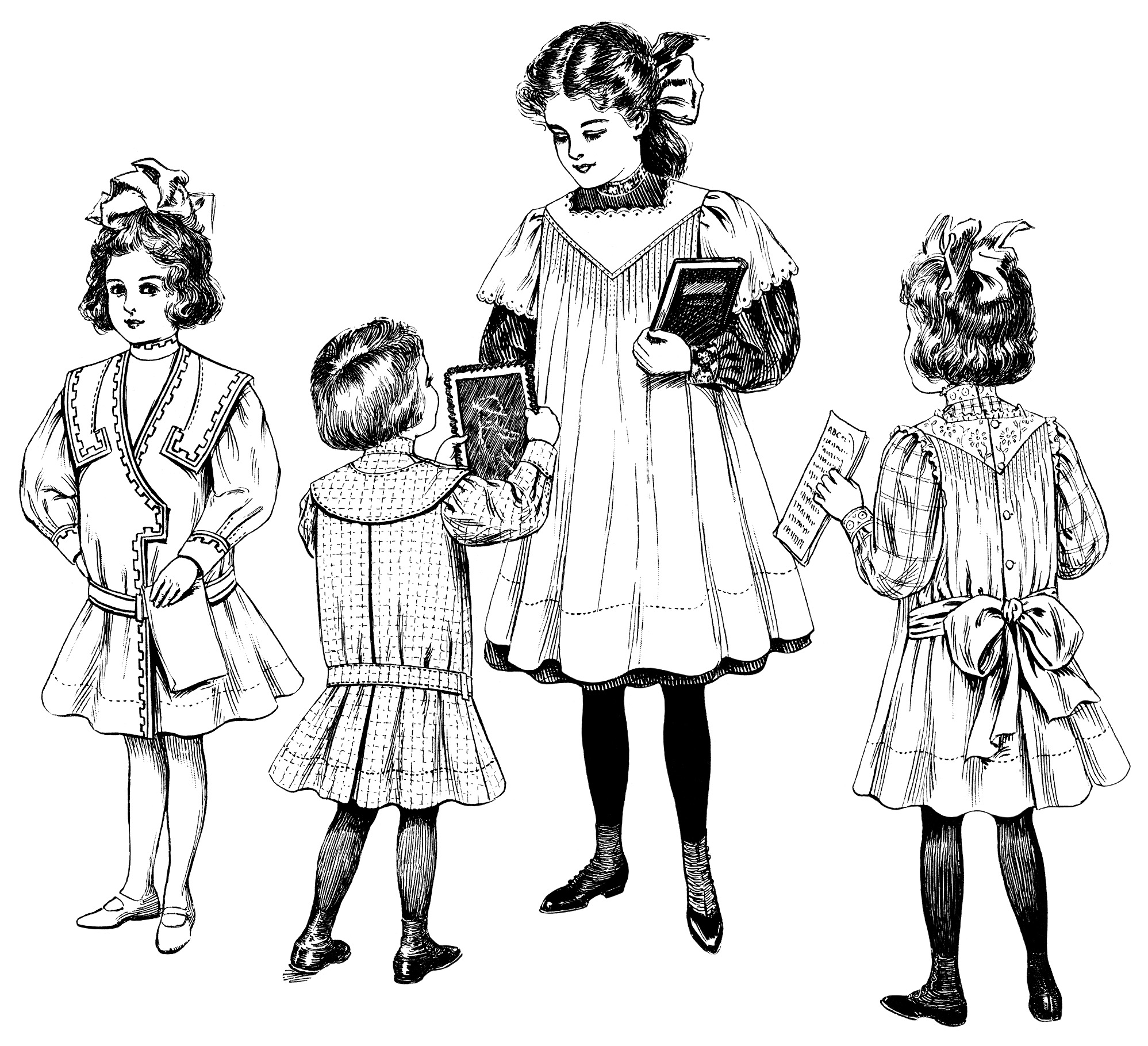vintage children clip art, Edwardian girls fashion, free black and white clipart, school child illustration, old fashioned kids printable