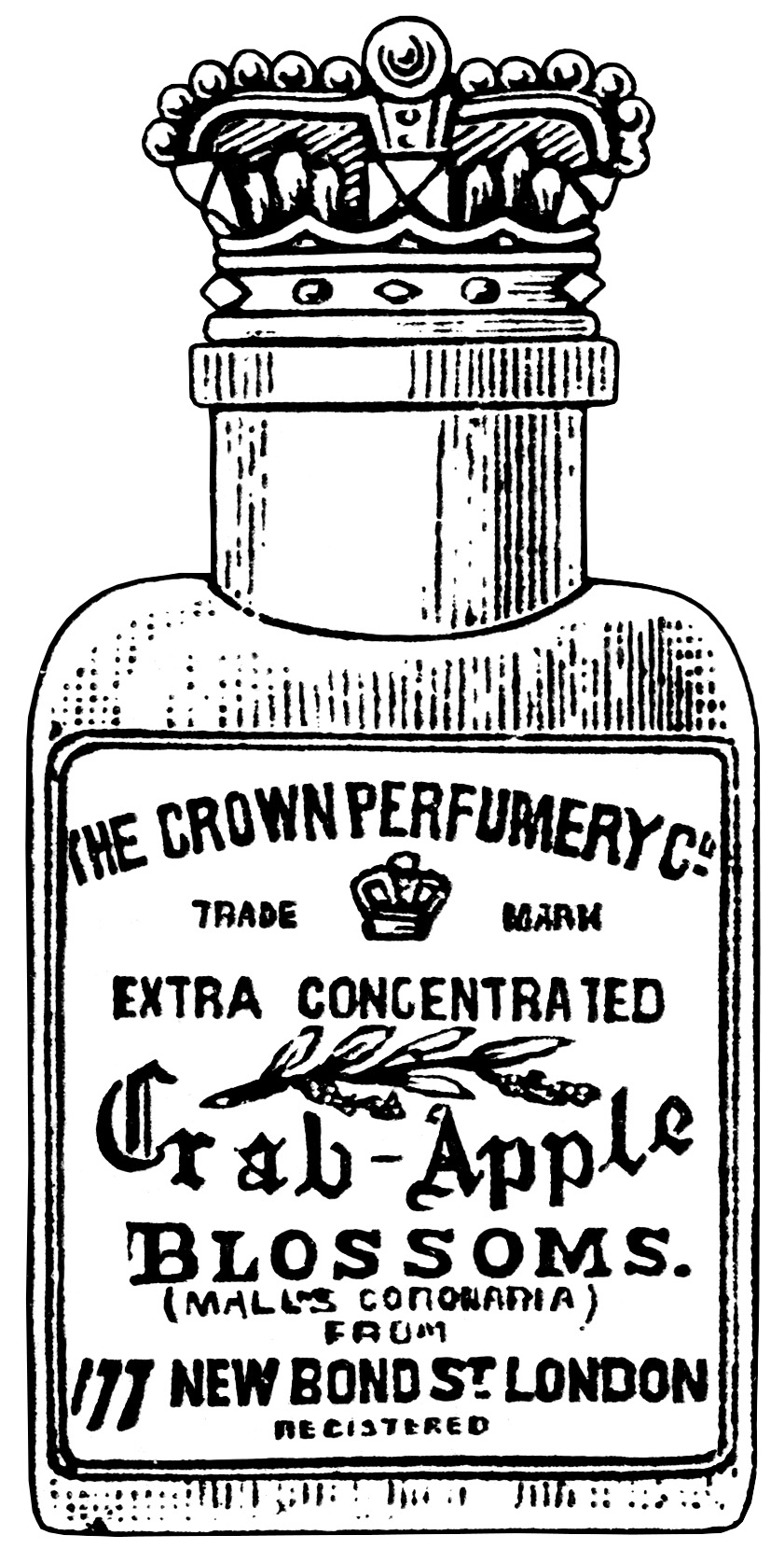 crown perfumery co, crab apple blossoms, junk journal printable, vintage perfume clip art, black and white graphics