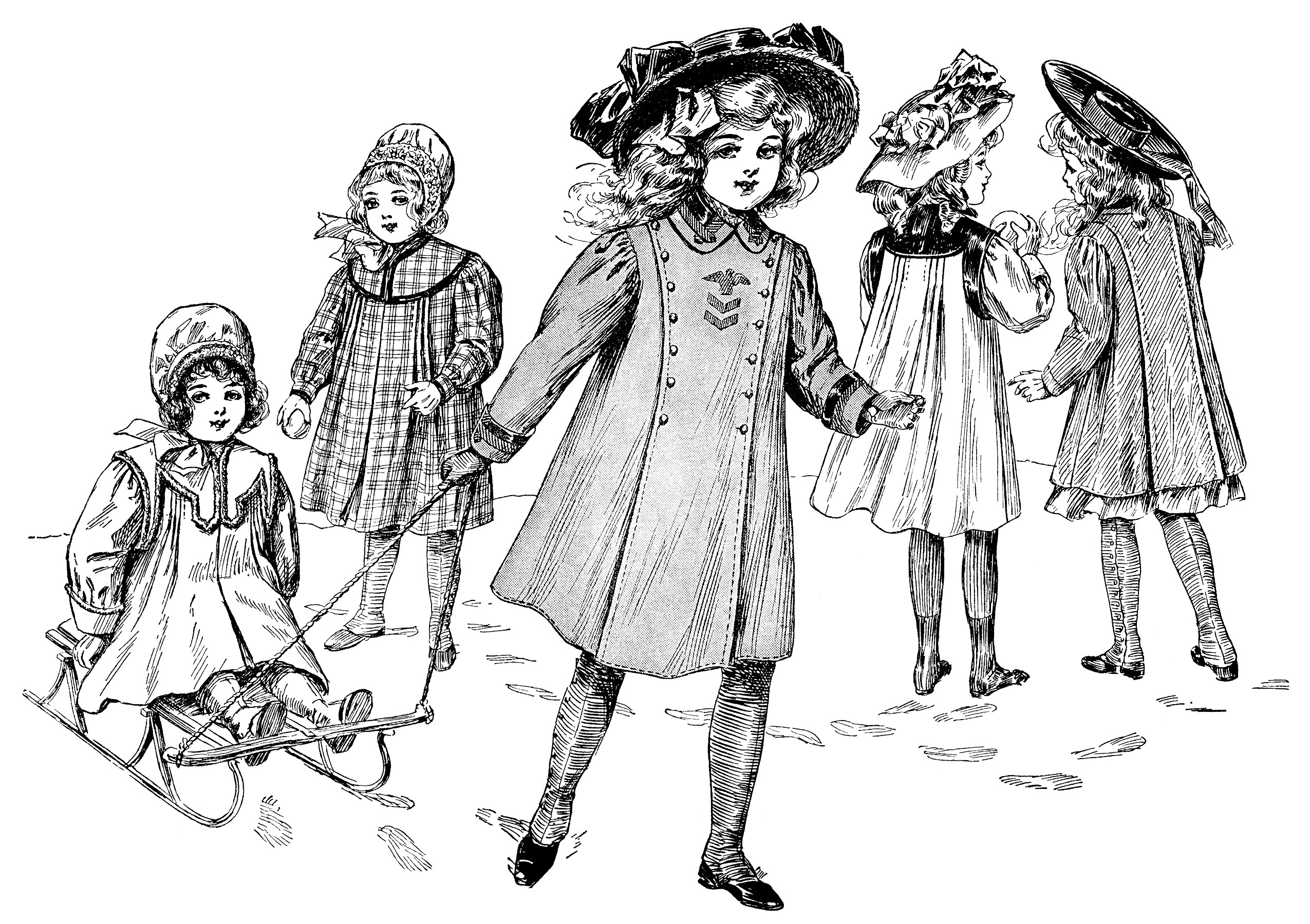 vintage children clip art, Edwardian girls fashion, free black and white clipart, playing in snow illustration, children outdoors printable