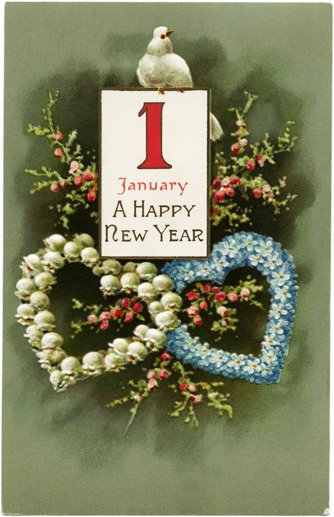 vintage new year bird postcard vintage floral clip art old fashioned new years card