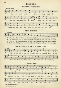 vintage sheet music, songs for January, kindergarten music, easy songs for children, old book page