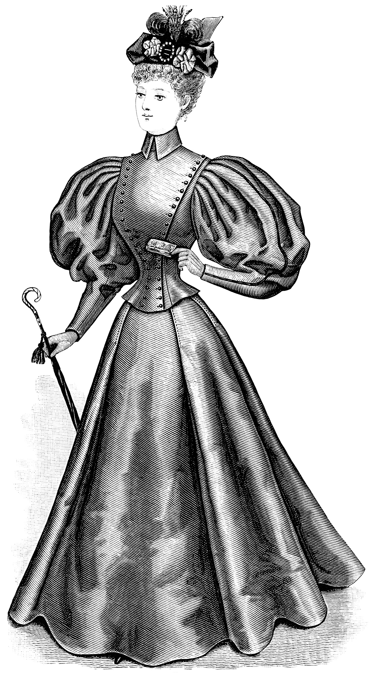 Victorian lady clip art, ladies promenade toilette, black and white illustration, vintage woman clipart, Victorian fashion image, antique clothing graphics