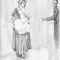An engravingof a man passing a valentine in an envelope to a Victorian maiden through a crack in an open door accompanies the poem.