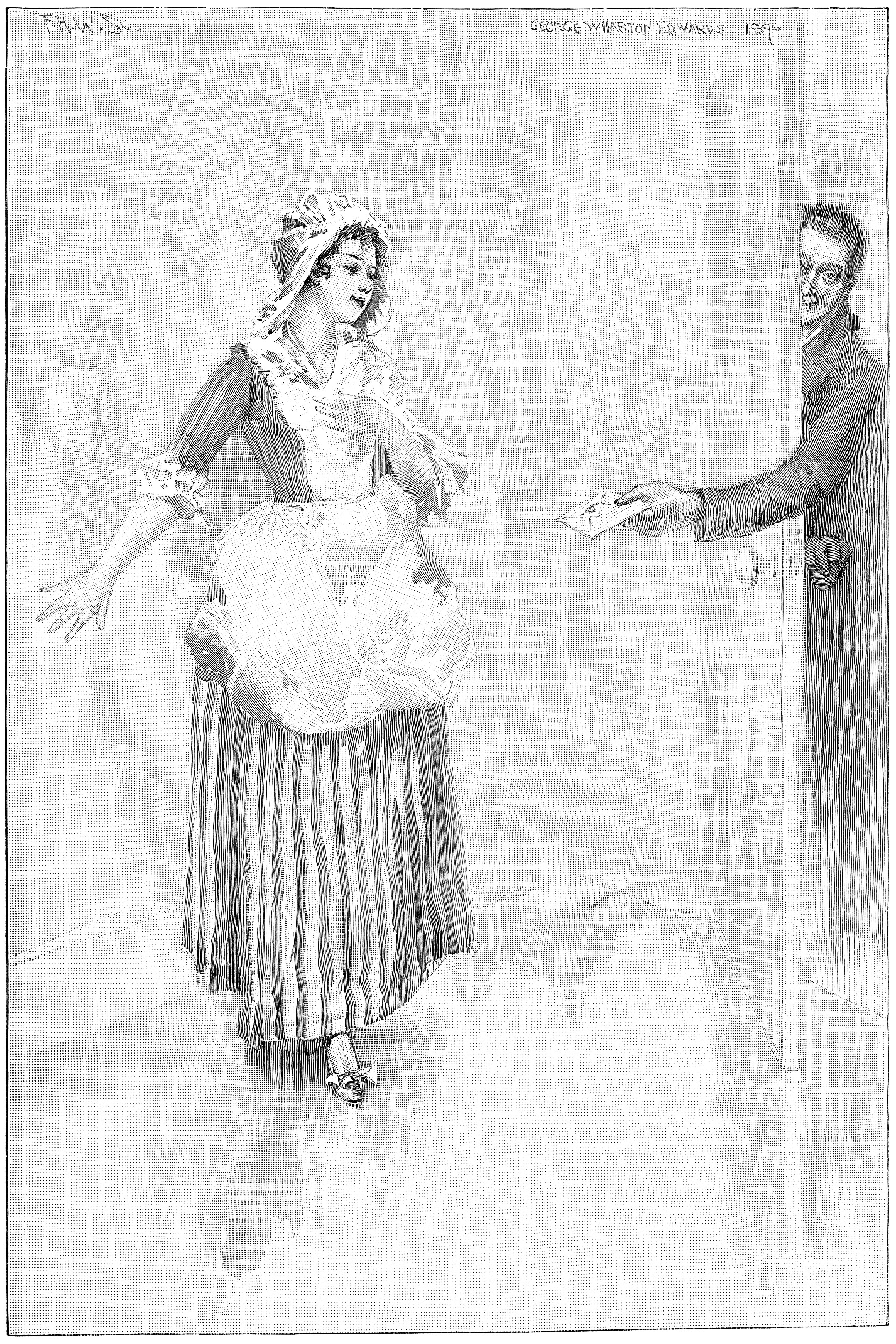 An engraving of a man passing a valentine in an envelope to a Victorian maiden through a crack in an open door accompanies the poem.