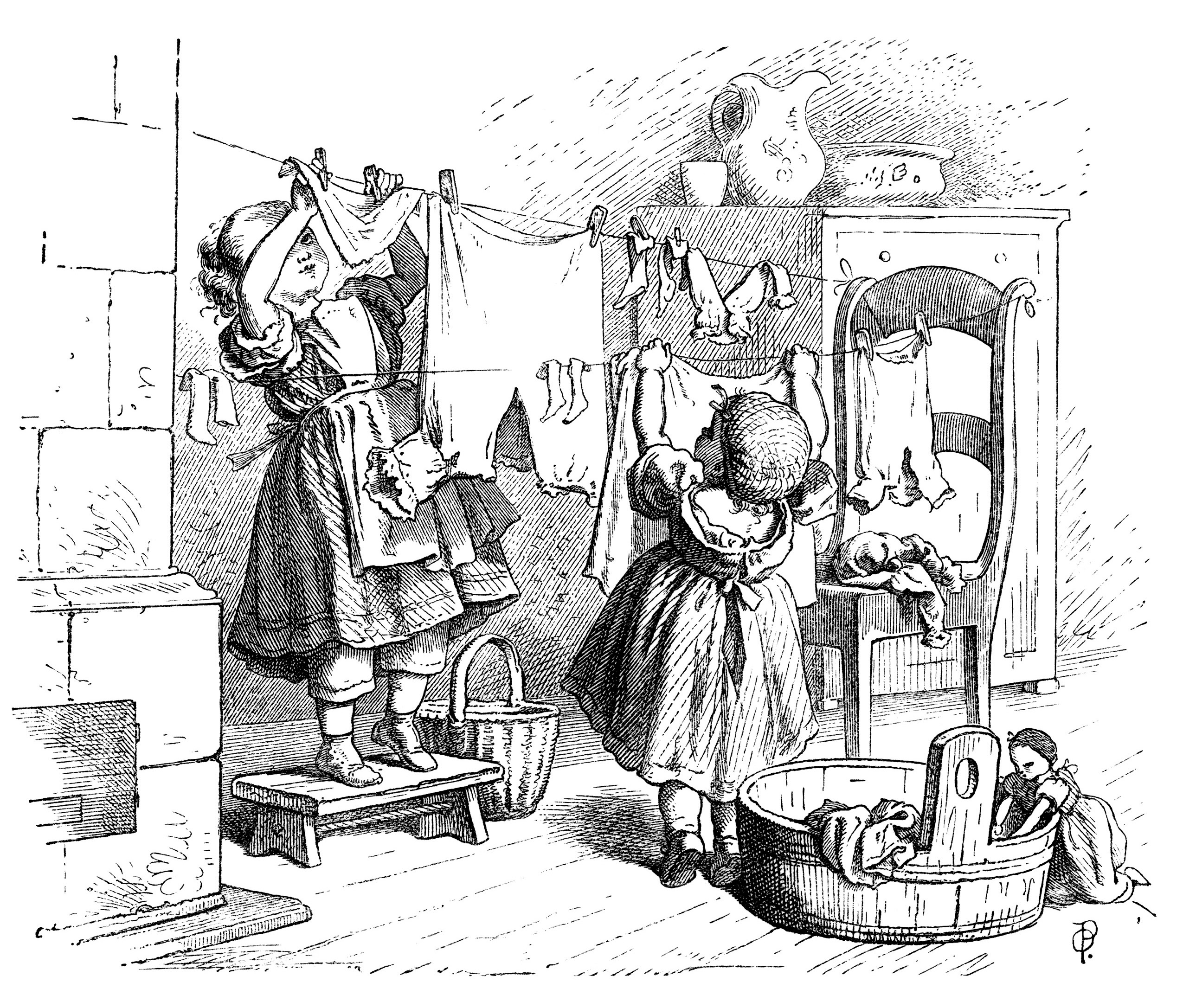 black and white clip art, Oscar pletsch engraving, Victorian girls printable, girls at play vintage clip art, hanging doll clothes