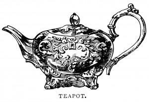 teapot clip art, black and white graphics, vintage tea pot printable, antique teapot illustration, vintage kitchen clipart
