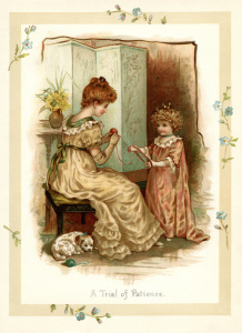 vintage storybook illustration, trial of patience, Victorian mother and child, sunbeams and me, vintage mom and daughter printable