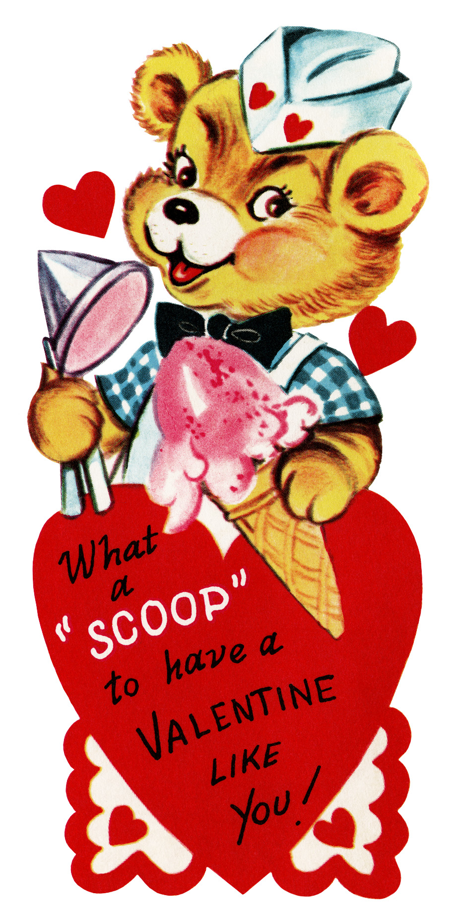 teddy bear valentine, vintage valentine clip art, teddybear scooping ice cream, retro valentine card, printable valentine