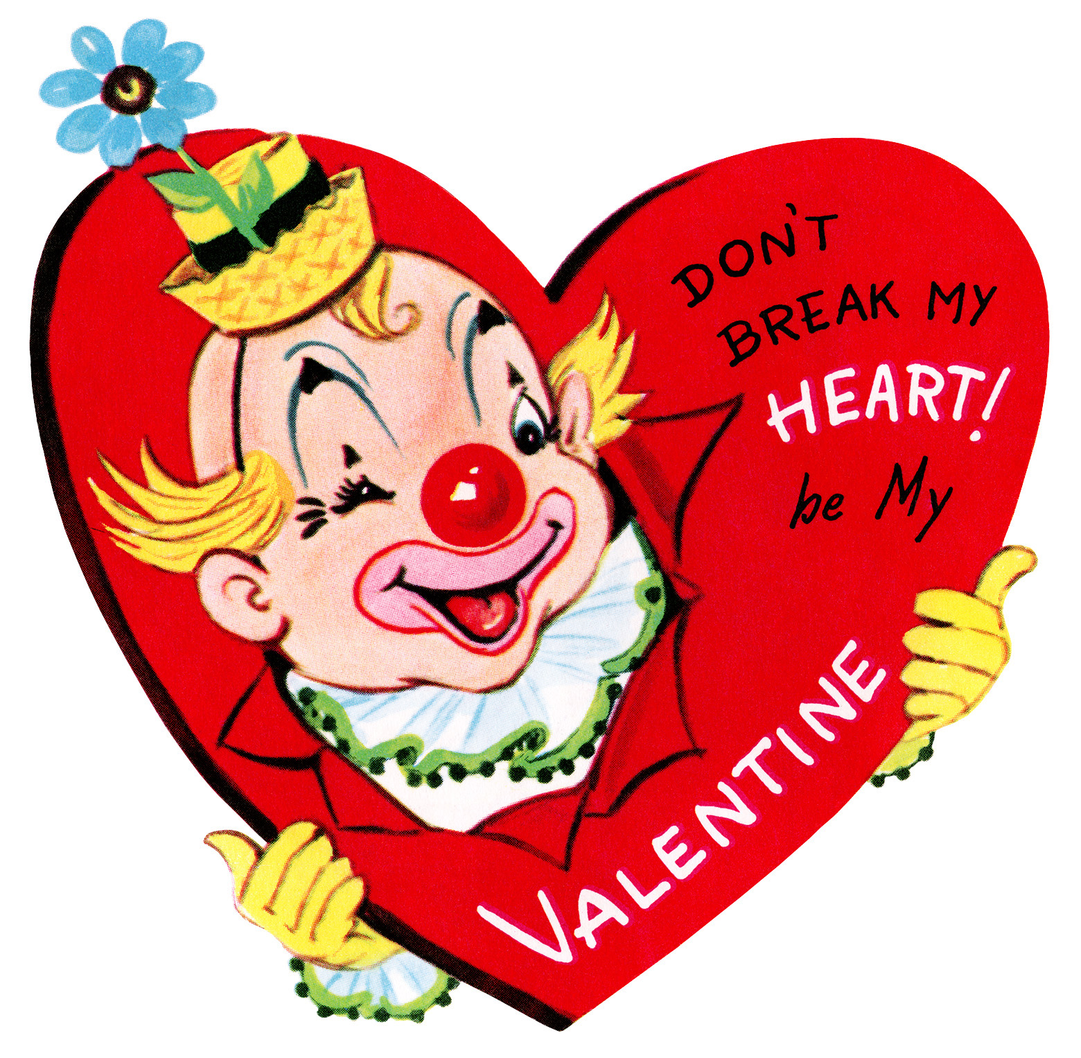 clown valentine, vintage valentine clip art, retro valentine card, printable valentines, old fashioned childrens valentine