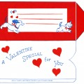 vintage valentine clip art, retro valentine envelope, puppy kitten valentine, printable envelope, old fashioned foldable envelope