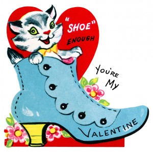 kitten in shoe valentine, vintage valentine clip art, retro valentine card, printable valentines, old fashioned childrens valentine