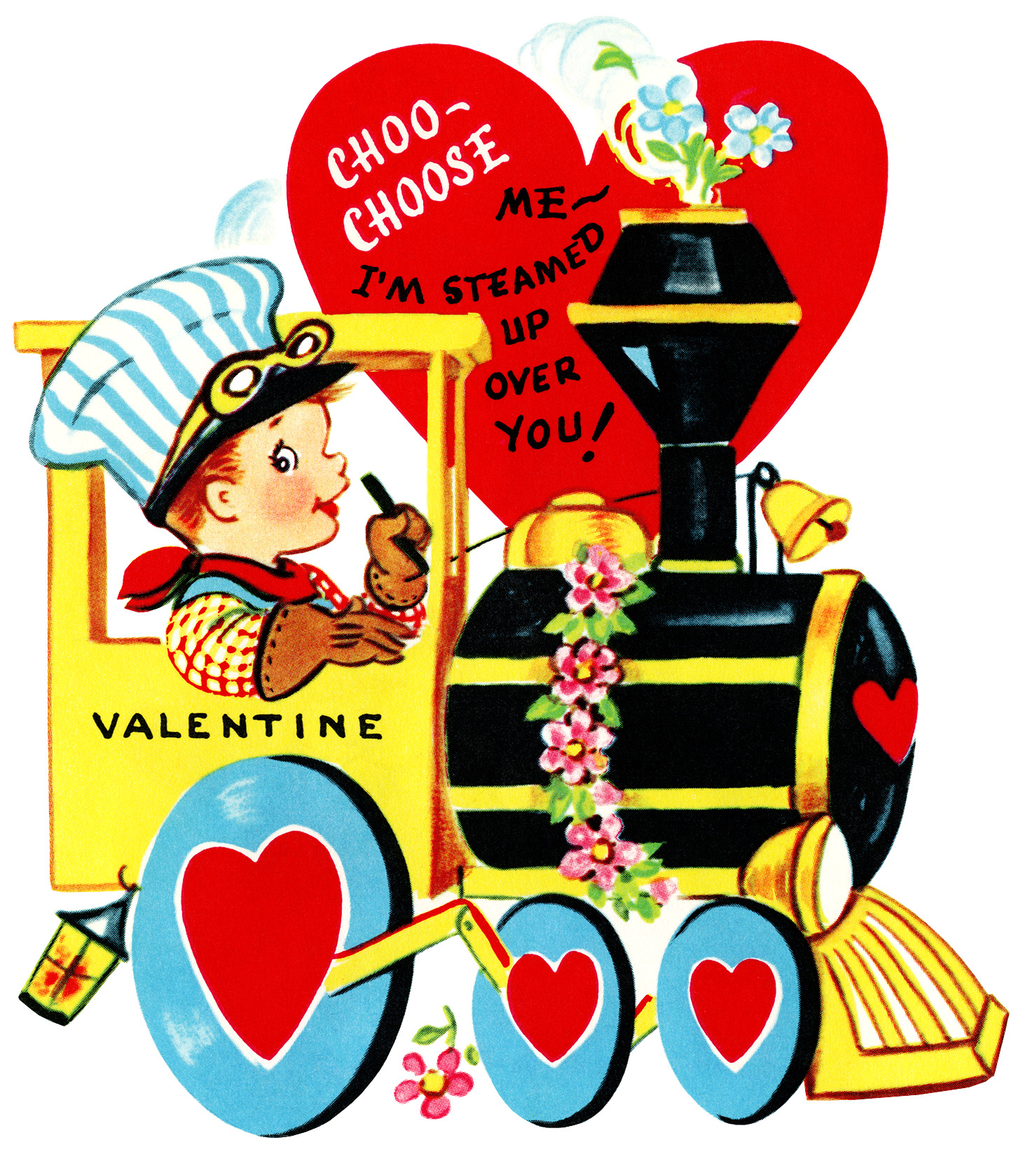 train valentine, vintage valentine clip art, boy engineer driving train, retro valentine card, printable valentines, old fashioned childrens valentine