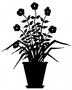 vintage flower clip art, flowering plant silhouette, black and white graphic, plant in pot illustration, floral silhouette clipart image