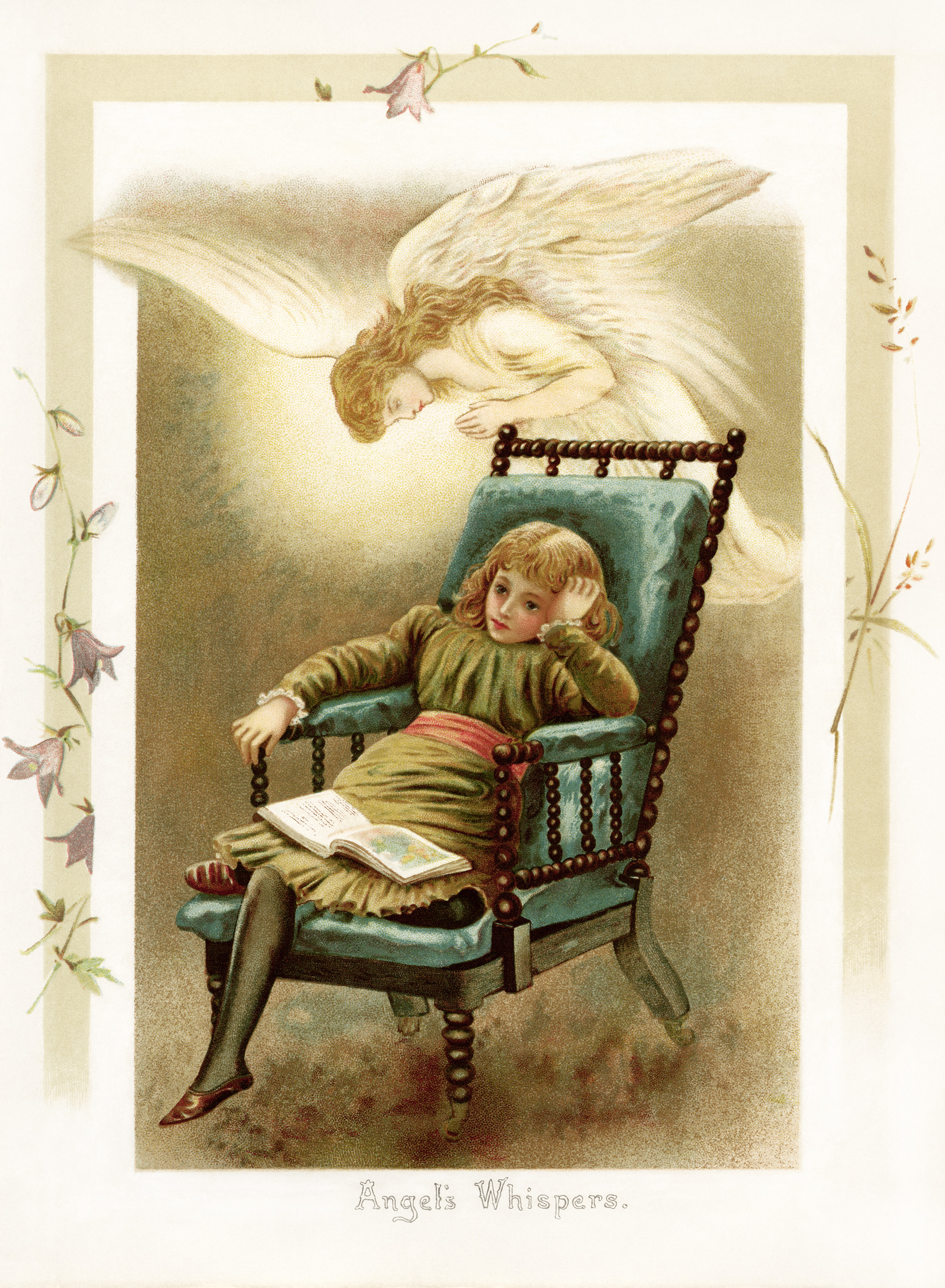vintage storybook illustration, angel whispers, Victorian child reading, sunbeams and me, vintage angel printable