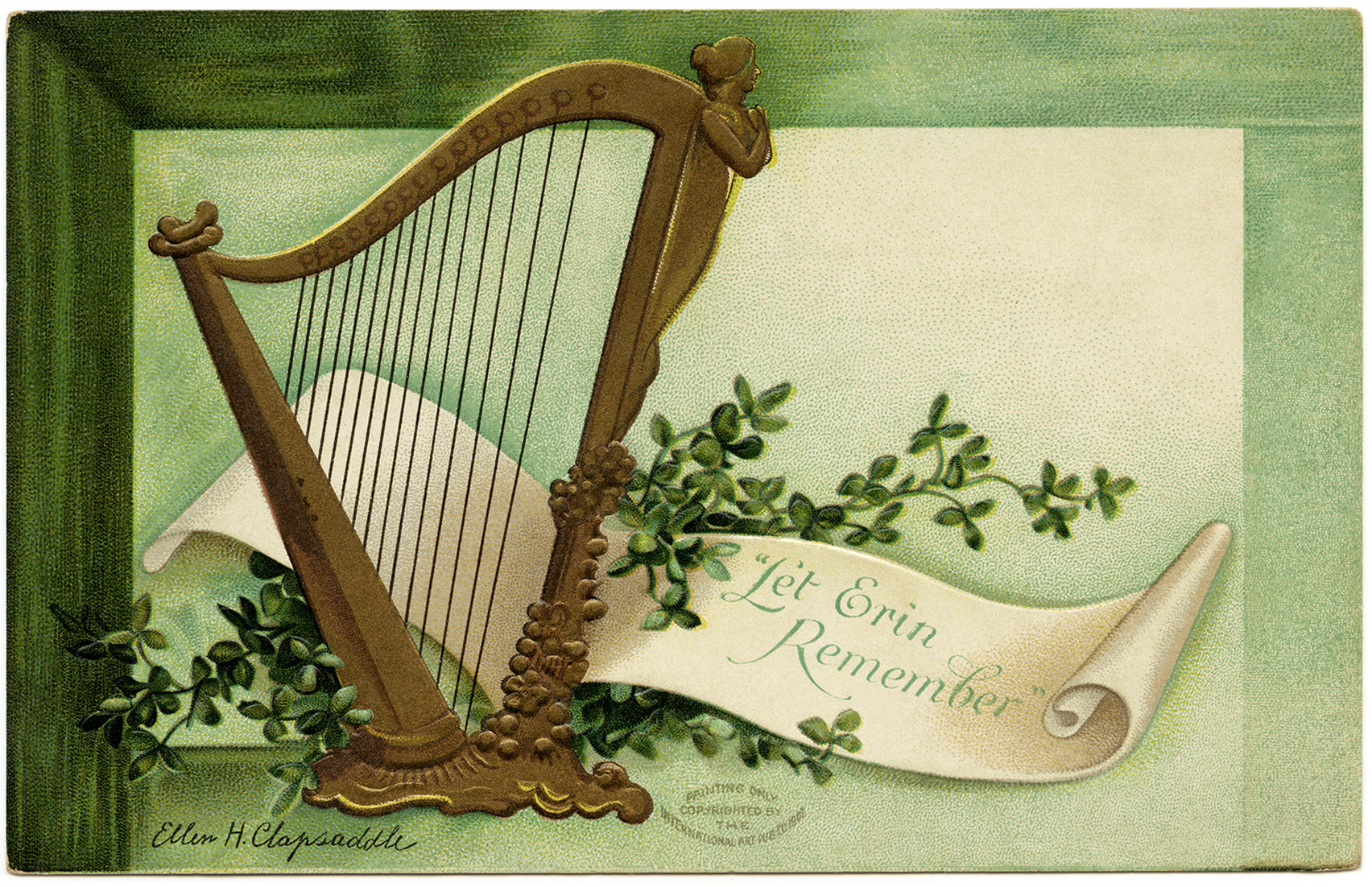 St Patrick's Day postcard, let erin remember, Ellen Clapsaddle, vintage postcard printable, free vintage ephemera, Irish harp shamrock clip art