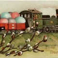 vintage easter postcard, easter train clip art, old fashioned easter card, bunny driving train, easter eggs in boxcar