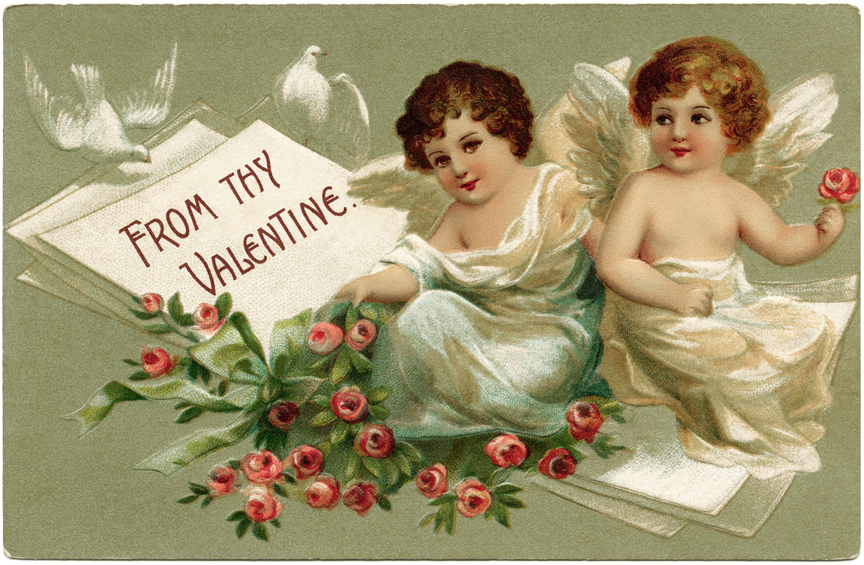 vintage valentine postcard, cherubs and roses clip art, old fashioned valentine card, vintage valentine illustration, printable valentines day card