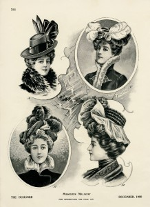 Victorian midwinter millinery, vintage hat graphics, antique hat illustration, ladies Victorian fashion, womens winter hat printable