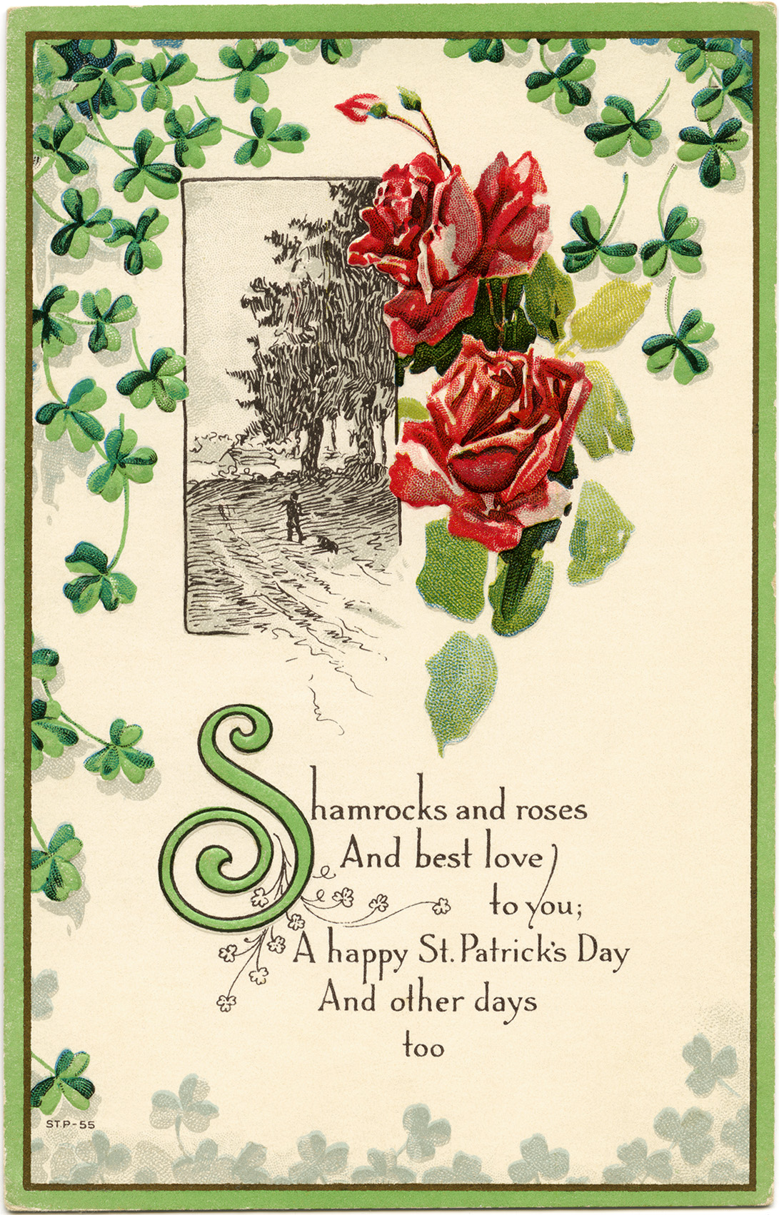 St Patrick's Day postcard, shamrocks and roses clip art, vintage postcard printable, free vintage ephemera, floral digital postcard