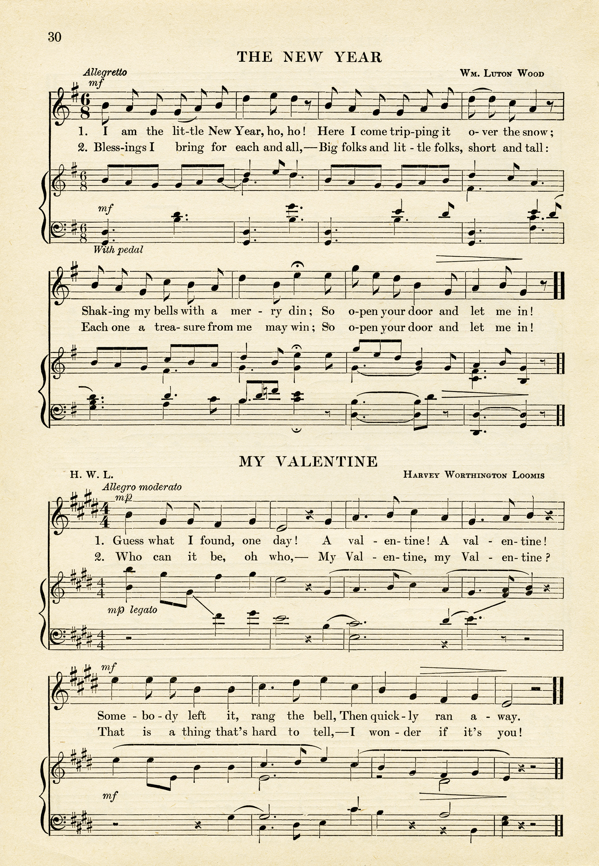 vintage sheet music, valentine song, printable music page, free vintage graphics, new year song