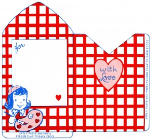 vintage valentine clip art, retro valentine envelope, train valentine illustration, printable envelope, red white blue envelope design