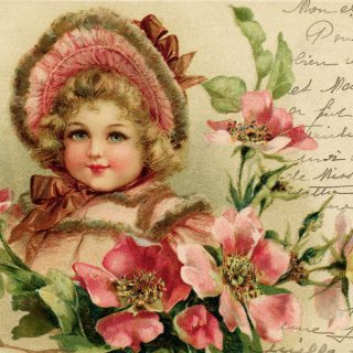 Free vintage clip art Victorian girl flowers handwriting postcard