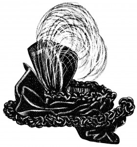 vintage hat clip art, black and white graphics, Victorian ladies hat, old fashioned hat illustration, Victorian millinery fashion