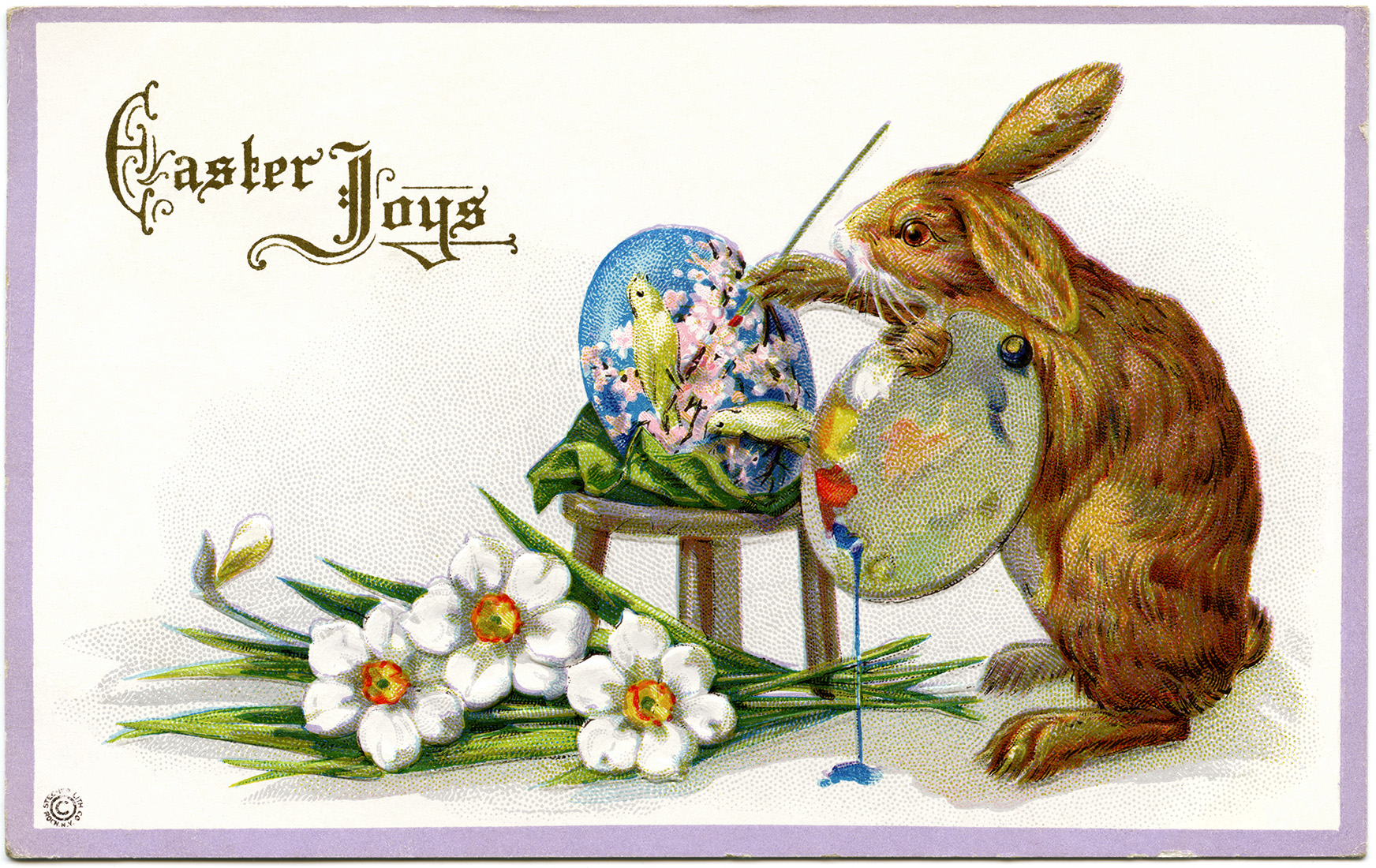 easter stecher postcard, easter bunny artist, fantasy easter clip art, vintage easter card, rabbit painting egg