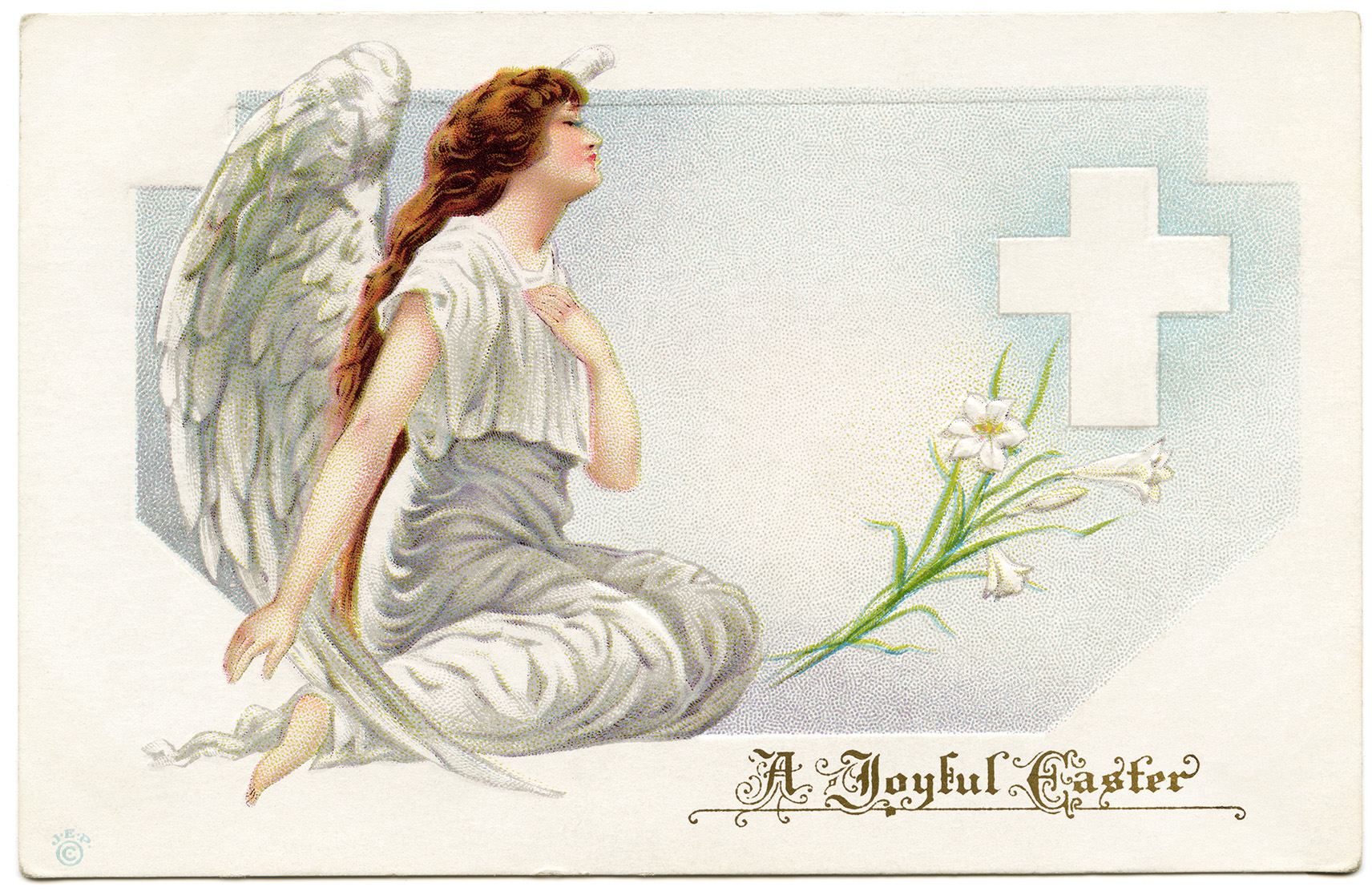 vintage easter postcard, angel clip art, old fashioned easter card, angel kneeling by cross, religious easter illustration