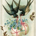 vintage easter postcard, birds carrying decorated eggs, vintage birds clip art, old fashioned easter card, fantasy easter graphics
