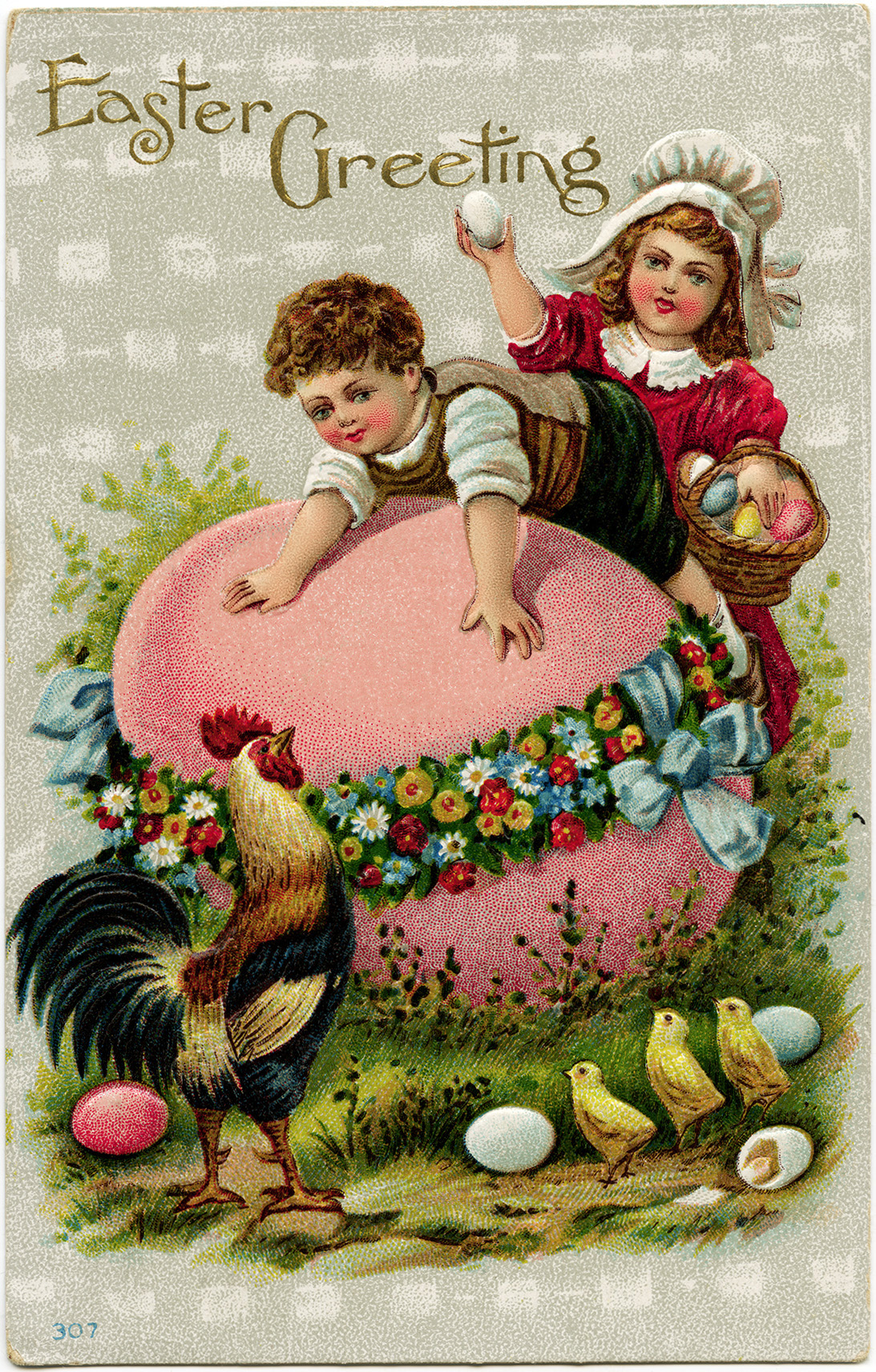 vintage easter postcard, easter clip art, old fashioned easter card, fantasy easter graphics, children eggs chicken printable