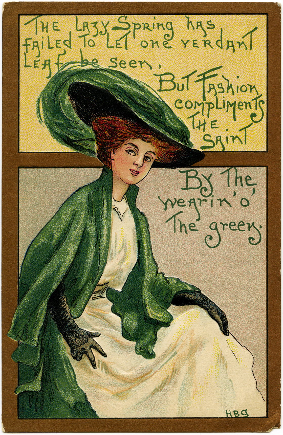 St Patrick's Day postcard, vintage postcard printable, free vintage ephemera, wearing green graphics, lady in green clipart
