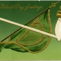 St Patrick's Day postcard, green flag celtic harp, pipe shamrock st patrick clip art, free vintage graphics, vintage postcard printable