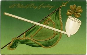 St Patrick's Day postcard, green flag celtic harp, pipe shamrock st patrick clip art, free vintage graphics, vintage postcard printable