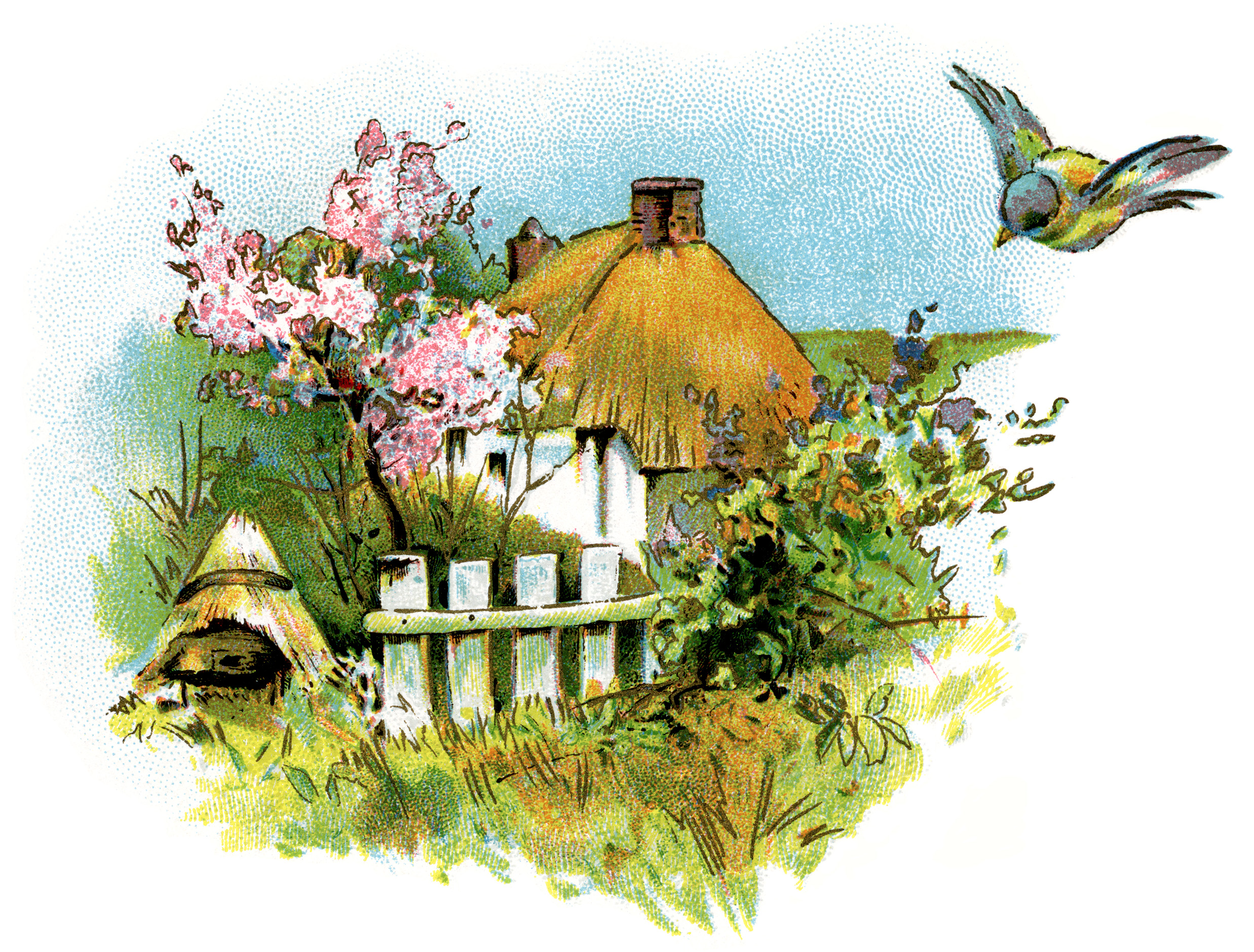 Small Country Cottage Clip Art