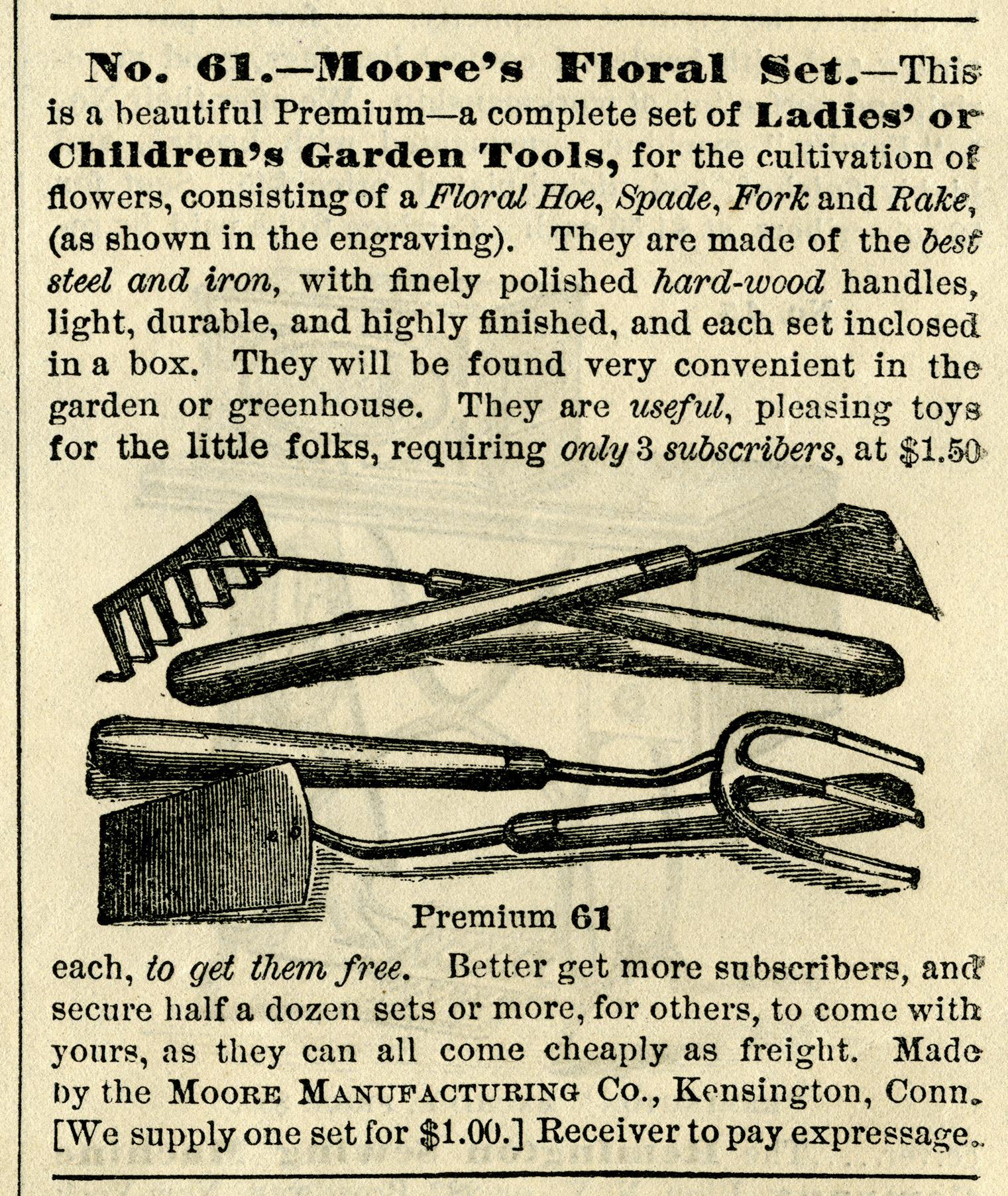 vintage garden clipart, free black and white graphics, antique garden tools, vintage magazine advertising, hoe spade fork rake illustration