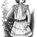 Victorian child fashion, victorian girl clip art, black and white graphics, vintage dress for girls, printable children illustration