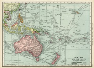 Oceania and Pacific map, vintage map download, antique map, C. S. Hammond, map of ocean and islands