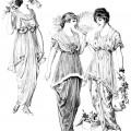 vintage fashion clip art, Edwardian clothing illustration, fashion for teens 1914, antique fashion printable graphics, black and white clipart, junk journal printable